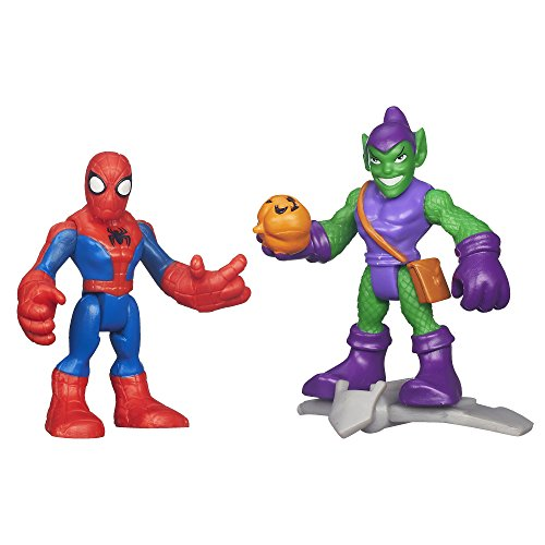 Playskool Heroes Marvel Super Hero Adventures Spiderman and Green Goblin Figures (Man Green Spider)
