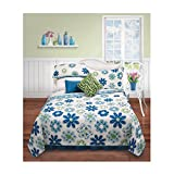 2 Piece Girls Blue Green White Floral Quilt Set Twin, Multi Large Small Flower Patterned Vermicelli Stitching Soft Teen Themed Kids Bedding For Bedroom Fancy Eye Catchy Trendy, Polyester