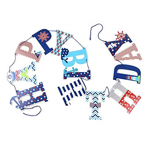 PAPER JAZZ Ahoy boy Nautical Ocean Theme Birthday Decoration Banner Sticker Party Supply (Happy Birthday) -