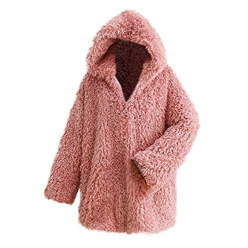 Externa Mujer Abrigo Capucha Con Sólida Grueso Invierno Toamen Rosa De Cardigan Capa Chaqueta IYHCn