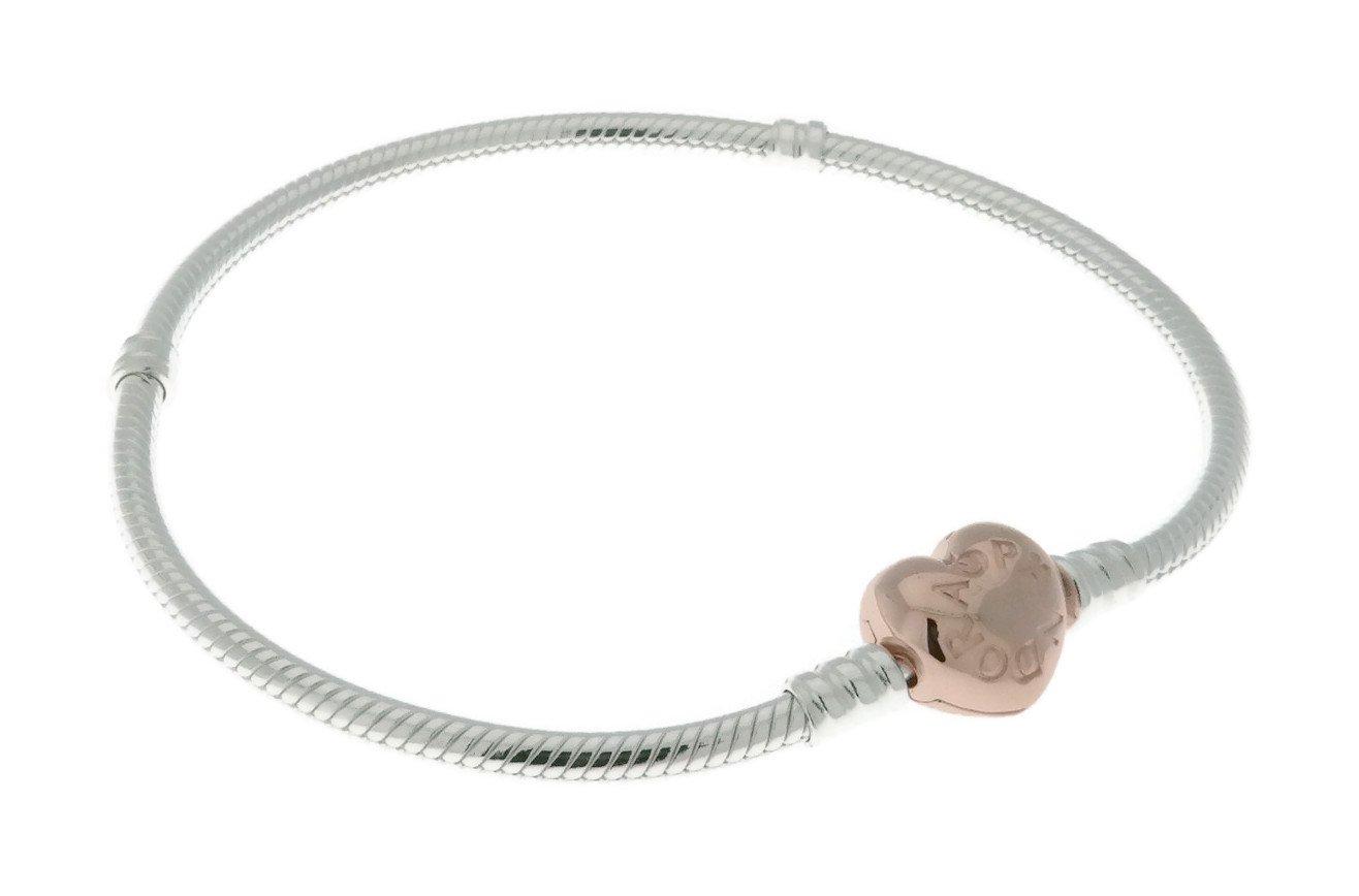 Sterling Silver Bracelet w/ PANDORA Rose Heart Clasp 580719-19 cm 7.5 in