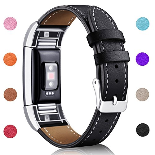 Hotodeal Band Compatible Fitbit Charge 2 Replacement Bands, Classic Genuine Leather Wristband Metal Connectors, Fitness Strap Women Men Small Large