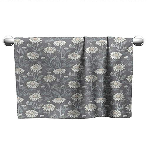alisoso Floral,Wholesale Towels Cottage Daisy Petals Field Summer Gardening Theme Chamomile Flourish Bath Towels for Kids Grey Coconut Sage Green W 14