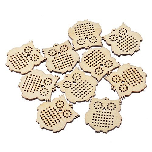 - Souarts Beige Wood Owl Shape Small Circle Blanks Pendant for Counted Cross Stitch Kit 44.5mmx41.5mm Pack of 10pcs