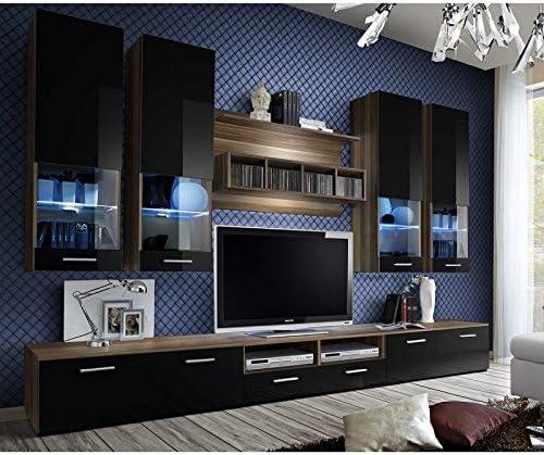 Paris Prix Mueble TV pared Design dorado 300 cm negro & marrón ...