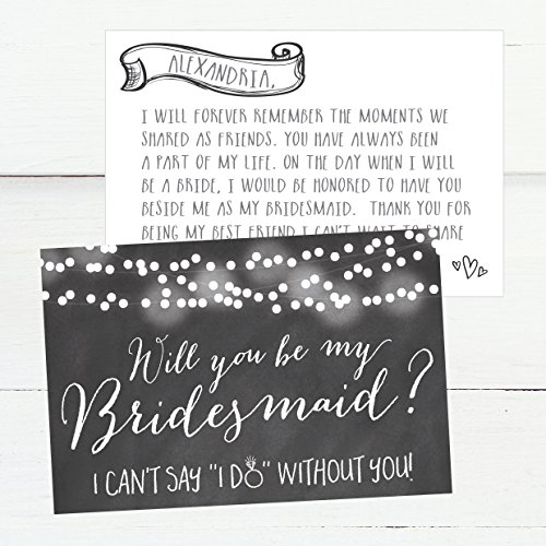 15 Will You Be My Bridesmaid Cards Chalkboard, I Can't Say I Do Without You, Rustic Proposal Note Cards For Gifts, Blank Chalk Ask To Be Your Bridesmaids Invitations Set, Asking A Bridesmaid Invite Photo #6