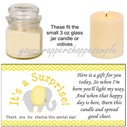 Gender Neutral 56 Yellow & Grey Elephant Baby Shower Candle Party Favor Labels It's a Surprise!