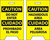 NMC FS31 Bilingual Double Sided Floor Sign, Legend ''CAUTION - DO NOT ENTER HAZARDOUS AREA'', 12'' Length x 20'' Height, Coroplast, Black on Yellow