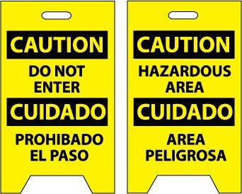 NMC FS31 Bilingual Double Sided Floor Sign, Legend ''CAUTION - DO NOT ENTER HAZARDOUS AREA'', 12'' Length x 20'' Height, Coroplast, Black on Yellow