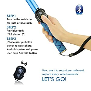 Bluetooth Long Selfie Stick- Super Length Lightweight Extendable Pole from 20'' to 118'' with Built-in Wireless Remote Shutter Grip Holder Mount for iPhone Samsung Galaxy All Android Cell Phone(Blue)