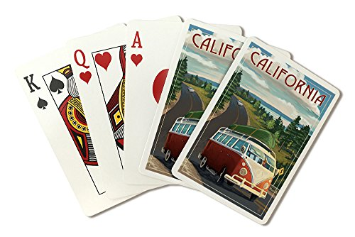 California - Camper Van and Lake (Playing Card Deck - 52 Card Poker Size with Jokers) by Lantern Press