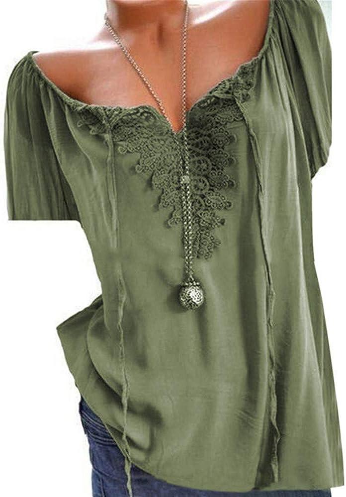 Blusa de algodón y Lino para Mujer, de Manga Corta, Cuello en V, de Verano, Talla, Blusas: Amazon.es: Ropa y accesorios