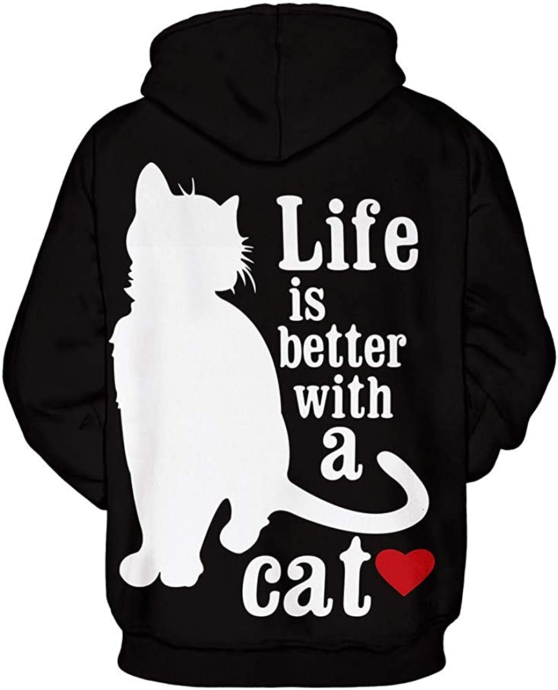 Cat Letter Print Casual Big and Tall Drawstring Outerwear Stoota Mens Classic Basic Hooded Sweatshirt with Kanga Pocket