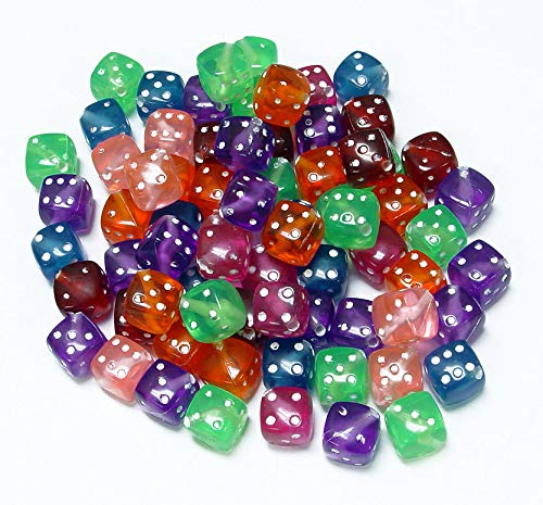 Dice Bead Strand - OutletBestSelling Beadwork Art Crafts Dice Beads 12mm Multi Color Translucent Beads