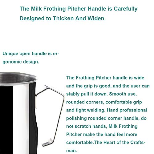 Frothing Pitcher Lengthen Mouth Handheld Milk Frothing Pitcher, 18/10 Stainless Steel 20oz/600ml Streamlined Milk Steaming Frothing Pitcher Body Suitable for Coffee, Latte Art And Frothing Milk Perfect for Espresso Machines by HENGRUI (Image #3)