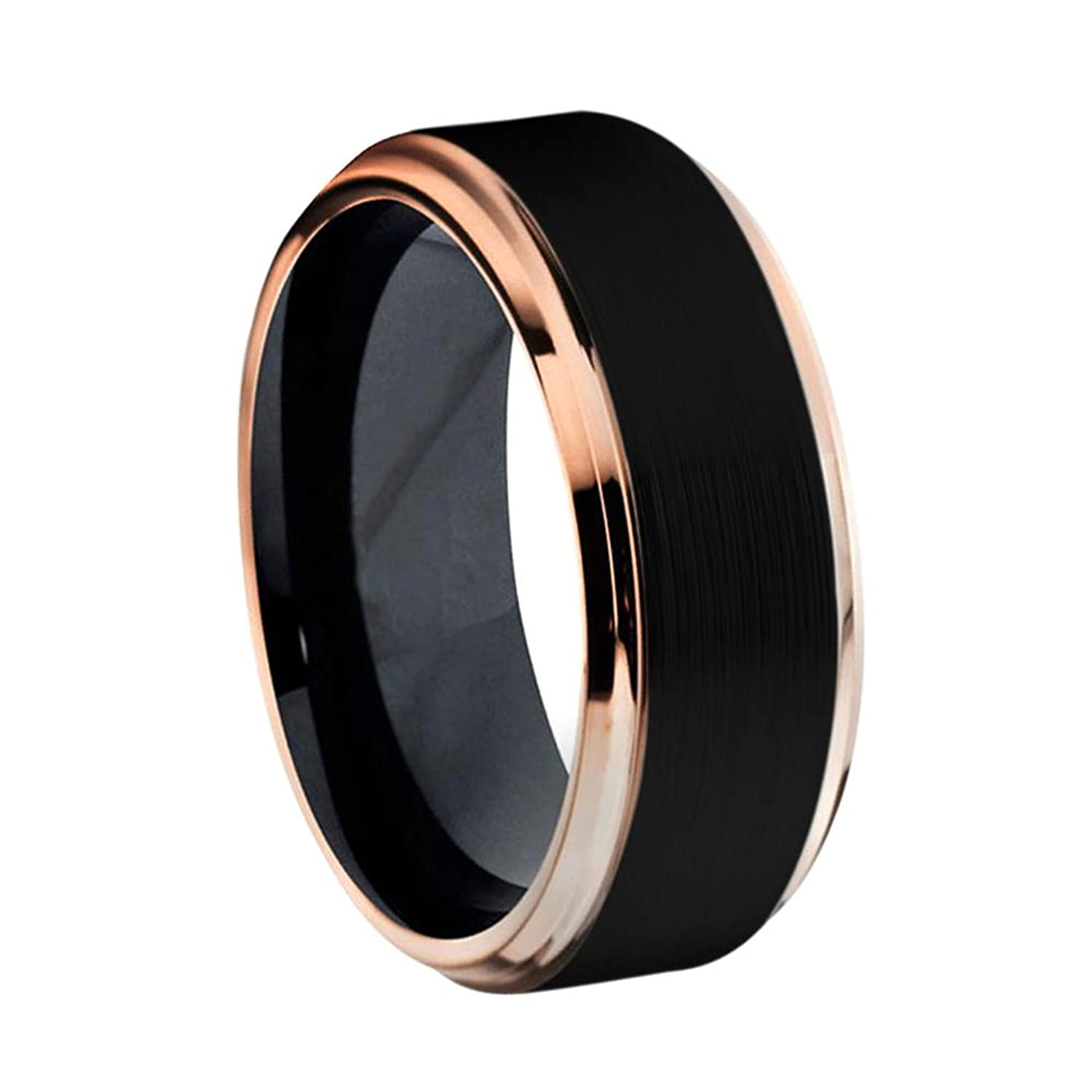 iPauly 8mm Titanium Two-Tone Black IP Rose Gold IP Brushed Center Stepped Edge Ring Wedding Band Ring