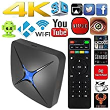EKER WiFi HDMI DLNA with TV Box Android 6.0 4K Smart TV Box Quad Core Ultra HD 2G/8G 64Bit Set Top TV Box (T96N 2G)