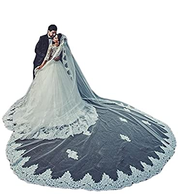 Women's 1T 3M Bridal Veils Lace Trim for Cathedral Wedding Free Comb