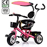 HotOne 023AK 4 In 1 Baby Children Detachable stroller Trike Classic Kids tricycle: Grows with your child (Pink)