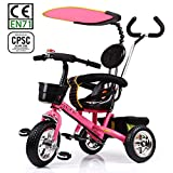 HotOne 023AK 4 In 1 Baby Children Detachable stroller Trike Classic Kids tricycle: Grows with your child(pink)