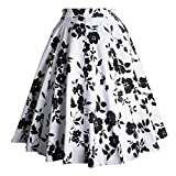 (US) Tea Party Garden Vintage Skirts for Women Spring Cocktail Homecoming Special Occasion Elegant Black and White Size S