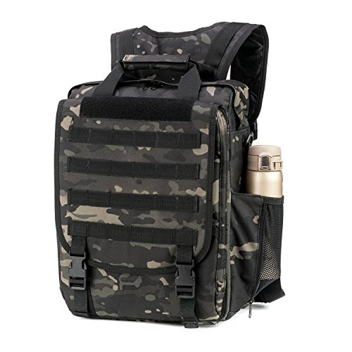 Multifunction Military Tactical Laptop Case / Bag (Black Multicam) by ARMYCAMOUSA