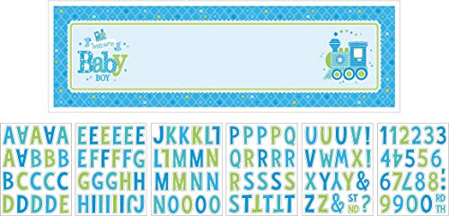 Charming Welcome Little One Boy Giant Sign Banner, 1 Piece, Made from Paper, Baby Shower, 65