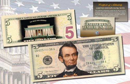 LINCOLN MEMORIAL NIGHT VERSION Genuine Legal Tender COLORIZED 2-Sided $5 US (5 Legal Tender Note)