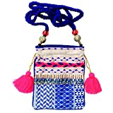 Lovestitch Smart Phone Beaded Crossbody Handbag with Braided Strap Blue