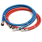 Washing Machine Stainless Steel Braided 90 degree elbow Water Supply Line Hoses - Premium 6 ft Burst Proof (2 pack) with Hot and Cold Color Coded PVC Layer for Insulation and Added Home Protection