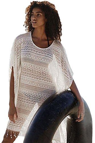 Nuovo da donna bianco sporco larghe Tassled Lace cover Up Swimwear Beachwear estate taglia UK 8–12