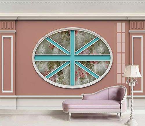 3D Wallpaper Photo Murals Roll Wall Papers Home Decor Paper Creative English Round Line Flag Pattern Wallpapers for Living Room Walls 3D Picture,360Cm (H) X 440Cm (W)