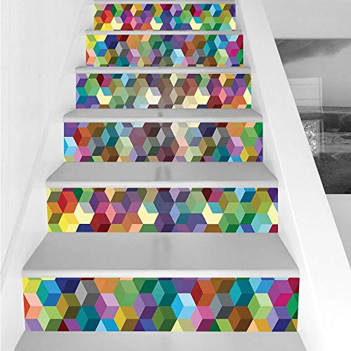 (Stair Stickers Wall Stickers,6 PCS Self-Adhesive,Abstract Home Decor,Color Cubes Mosaic Party Festive Theme Modern Fun Geometric Artwork Decorative,Stair Riser Decal for Living Room, Hall, Kids)