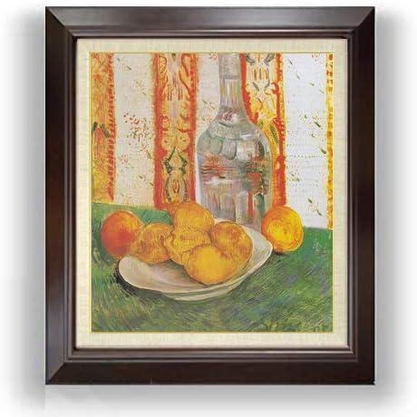 ゴッホ デキャンタと皿の上のレモンのある静物 F10 油絵直筆仕上げ| 絵画 10号 複製画 ブラウン額縁 675×601mm