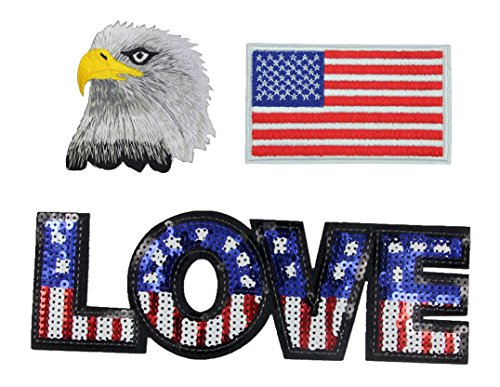 Seventopia Blue White Red Sequin Love, Embroidered National Flag Patches, Bold Eagle Applique DIY Sew Iron on Patches for Shirts, Jeans, Backpacks, Handbags