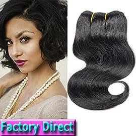 Brazilian Hair Short Human Hair 4 Bundles Body Wave 8″ 100% Unprocessed 50g/Piece (4 Piece, Natural Color Body Wave)