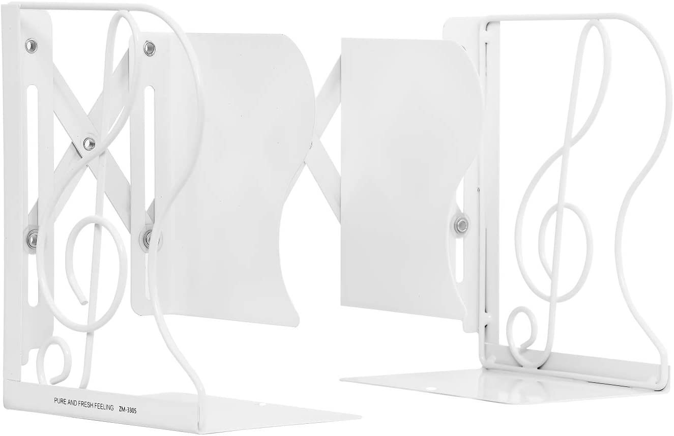 MerryNine Creative Telescopic Metal Musical Symbol Bookends, Adjustable Book Holder for Desktop Organizer Storage, Stretching Book Stand for Home Office Decoration (White)