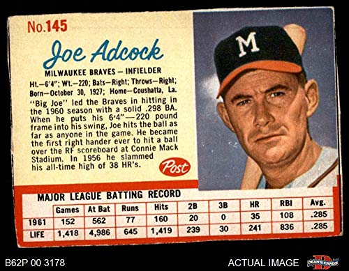 1962 Post Cereal # 145 COR Joe Adcock (Baseball Card) (Adcock Spelled correctly) Dean's Cards 3 - VG