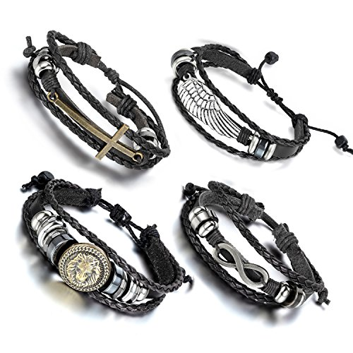 Oidea 4pcs Wholesale Punk Leather Braided Bracelet for Men Women,Adjustable Size Fit for 7-10 Inch Wrist,Black -