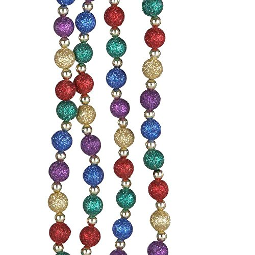Kurt Adler Multi Color Glitter Beaded Garland, 15-feet Multi Color Garland