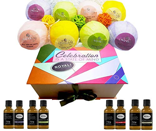 noyali 2IN1 Set 8 Organic Big Bath Bombs Plus 4 Essential Oils Gift Set Handmade and Luxurious. Rich Fragrant with Extra Cocoa & Shea Butter for moisturizing Your Skin, 100% Natural Ingredients