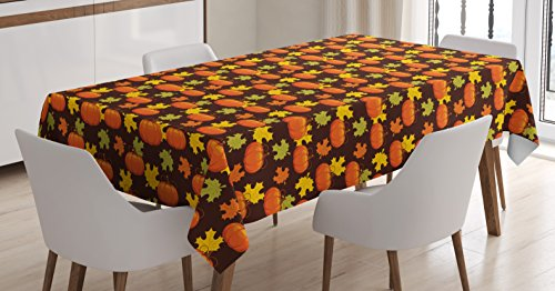 Rectangular Maple Dining Room - Lunarable Pumpkin Tablecloth, Halloween Themed Illustration Maple Tree Leaves and Squash Plants Abstract Pattern, Dining Room Kitchen Rectangular Table Cover, 52 W X 70 L inches, Multicolor