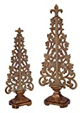 Set of 2 Distressed Antique-Style Bronze Vine Table Top Christmas Tree Decorations 16''-19.5''