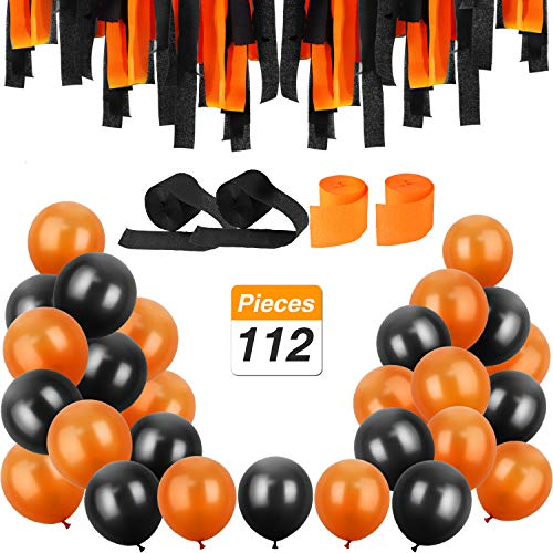 Jovitec 100 Pieces 12 Inches Latex Balloons and 12 Rolls Crepe Streamers for Halloween Decorations Party Supplies, Orange and Black for $<!--$13.59-->