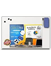 OfficePro Ultra-Slim, Lightweight Magnetic Dry Erase Board & Accessories (Includes Whiteboard Pen & Pen Tray, 3 x Magnets & Eraser)