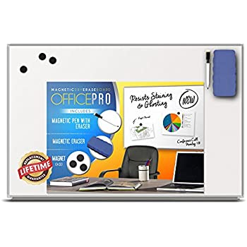 OfficePro Ultra-Slim, Lightweight Magnetic Dry Erase Board & Accessories (Includes Whiteboard Pen & Pen Tray, 3 x Magnets & Eraser) - 24 x 36 Inch