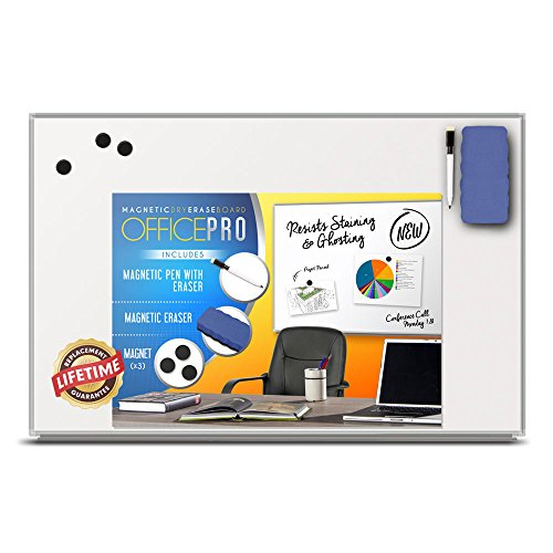 OfficePro Ultra-Slim, Lightweight Magnetic Dry Erase Board & Accessories (Includes Whiteboard Pen & Pen Tray, 3 x Magnets & Eraser) - 24 x 36 Inch by OfficePro