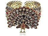 Alilang Womens Exotic Smoked Topaz Brown Crystal Rhinestone Peacock Bird Turkey Bangle Bracelet Cuff