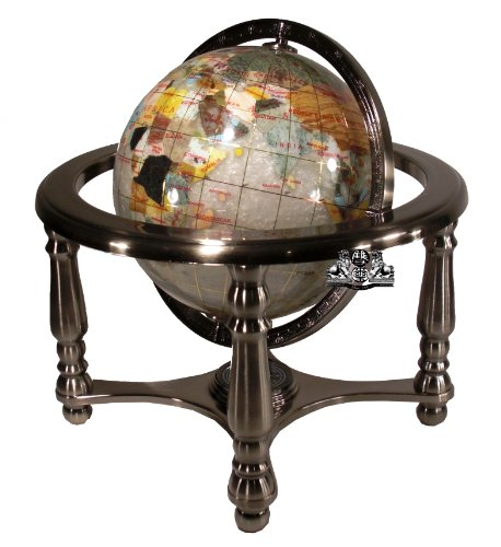 Unique Art 10-Inch Tall Pearl Swirl Ocean Gemstone World Globe with 4 Leg Silver -
