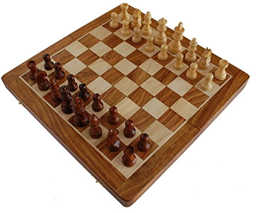 (BKRAFT4U 12x12 Inch Chess Set - Handmade Wooden Rosewood Foldable Magnetic Chess Game Board with Storage Slots, 12 inch 2 Queens)